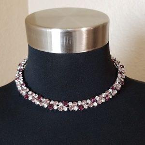 Purple Pink Jewel Choker Necklace